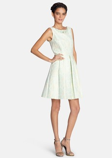 Tahari Embellished Jacquard Fit & Flare Dress (Regular & Petite)