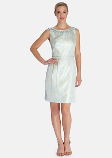 Tahari Embellished Jacquard Sheath Dress (Regular & Petite)