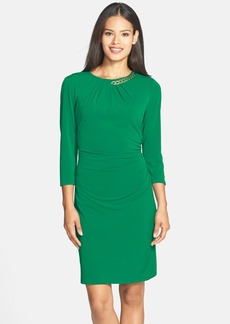 Tahari Embellished Jersey Sheath Dress