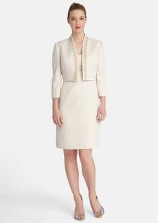 Tahari Embellished Metallic Jacquard Sheath Dress & Jacket