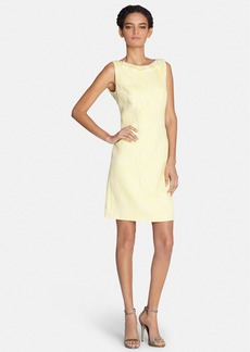 Tahari Embellished Neck Bouclé Sheath Dress (Regular & Petite)
