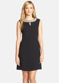 Tahari Embellished Neck Crepe Shift Dress (Regular & Petite)