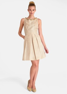 Tahari Embellished Neck Jacquard Fit & Flare Dress