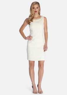 Tahari Embellished Neck Metallic Sheath Dress (Regular & Petite)