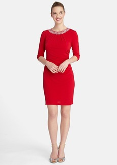 Tahari Embellished Neck Ruched Jersey Sheath Dress