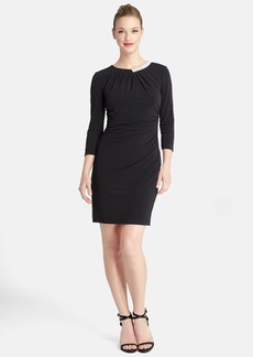 Tahari Embellished Neck Ruched Jersey Sheath Dress (Regular & Petite)