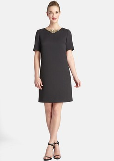 Tahari Embellished Neck Textured Shift Dress