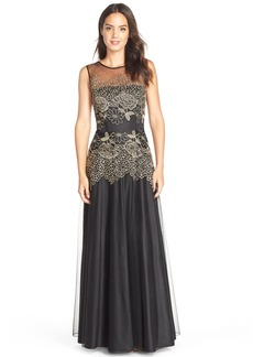 Tahari Embroidered Mesh Fit & Flare Gown