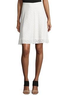 Tahari Eyelet A-Line Skirt