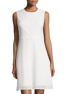 Tahari Eyelet Sleeveless A-Line Dress