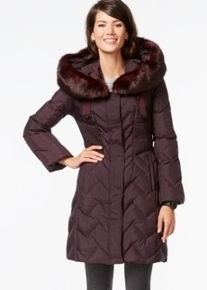 Tahari Faux-Fur-Trim Hooded Down Coat