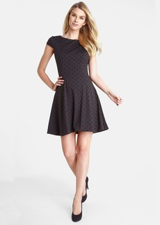 Tahari Flocked Dot Fit & Flare Dress (Petite)