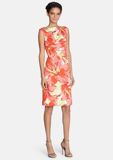 Tahari Floral Print Cotton Sheath Dress (Regular & Petite)