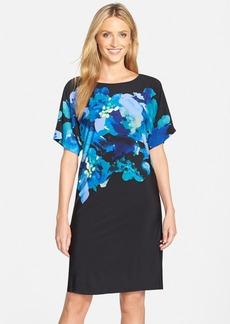 Tahari Floral Print Jersey Shift Dress
