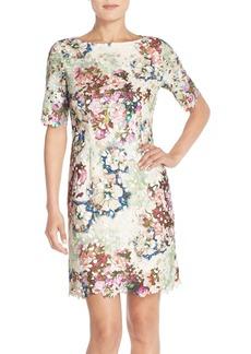 Tahari Floral Print Lace Sheath Dress (Regular & Petite)