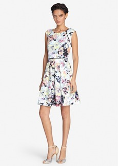 Tahari Floral Print Scuba Fit & Flare Dress (Regular & Petite)