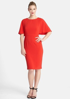 Tahari Flutter Sleeve Crepe Sheath Dress