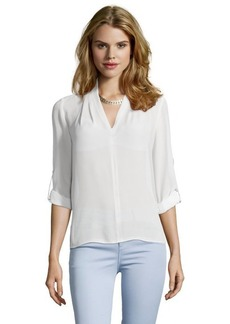 Tahari fresh pearl woven 'Shira' v neck hi-low blouse