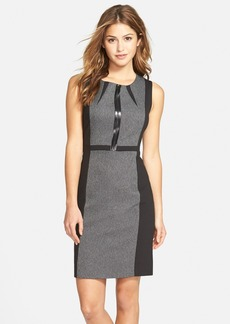 Tahari Front Zip Colorblock Sleeveless Sheath Dress (Regular & Petite)