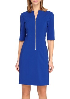 Tahari Front Zip Stretch Sheath Dress (Regular & Petite)