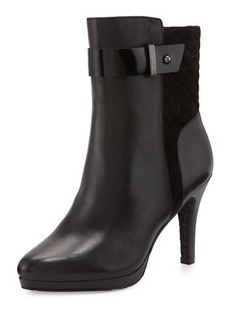 Tahari Galina Quilted-Suede Leather Bootie