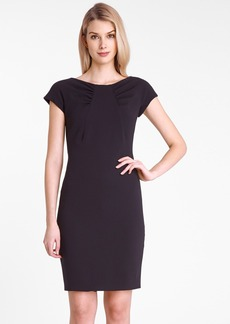 Tahari Gathered Neck Crepe Sheath Dress (Petite)