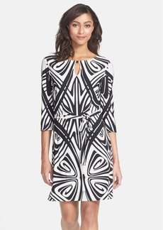 Tahari Geo Print Matte Jersey Shift Dress