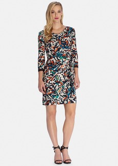 Tahari Graphic Print Faux Wrap Sheath Dress