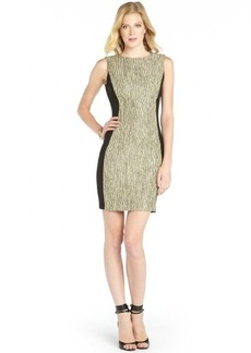 Tahari green and black tweed and woven 'Mila' dress