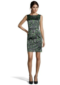 Tahari green and grey printed 'Ketrina' woven shift dress