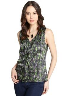 Tahari green printed drape v-neck 'Pamela' sleeveless blouse