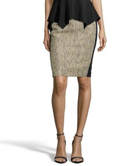 Tahari green tweed and black stretch woven 'Kelsa' pencil skirt