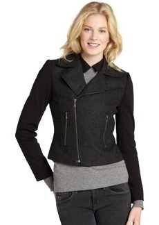 Tahari grey and black 'Mae' wool blend moto jacket