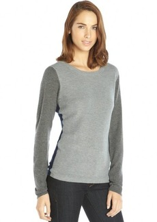 Tahari grey and navy colorblock waffle knit detailed sweater