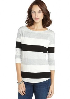 Tahari grey and white stretch knit striped 'Tyler' tee