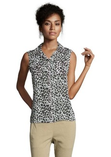 Tahari grey area chiffon animal print sleeveless 'Bella' blouse