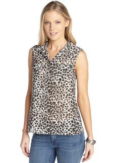 Tahari grey area woven chiffon animal print sleeveless 'Bella' blouse