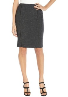 Tahari gunmetal herringbone stretch woven 'Ann' pencil skirt