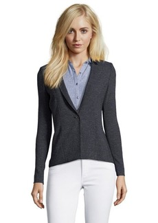 Tahari gunmetal stretch speckled herringbone 'Ellen' faux leather trim jacket