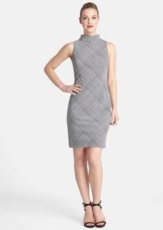 Tahari Houndstooth Mock Neck Sleeveless Sheath Dress