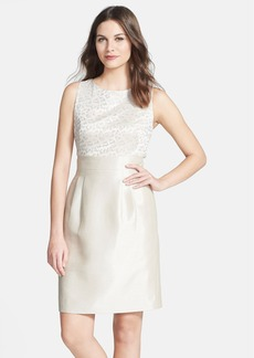Tahari Jacquard & Shantung Sleeveless Sheath Dress (Petite)
