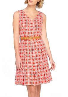Tahari Jacquard Fit & Flare Dress with Belt (Regular & Petite)