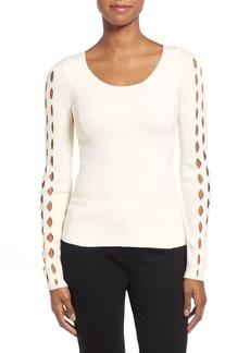 Tahari 'Jenna' Cutout Sleeve Merino Wool Sweater