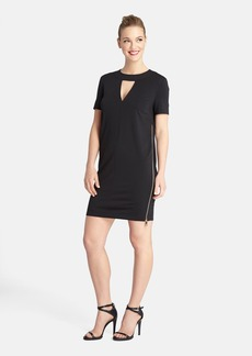 Tahari Keyhole Zip Detail Scuba Shift Dress (Regular & Petite)