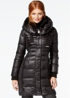Tahari Knit-Collar Contrast-Quilted Packable Down Coat