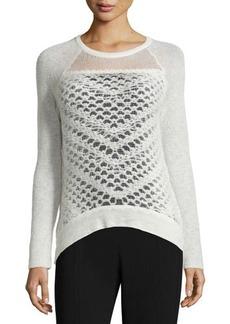 Tahari Korra Wool-Blend Sweater W/Semisheer Bodice
