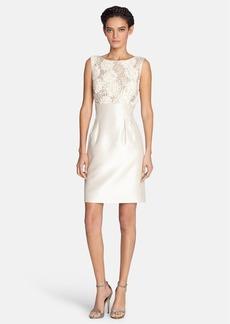 Tahari Lace & Shantung Sheath Dress (Regular & Petite)