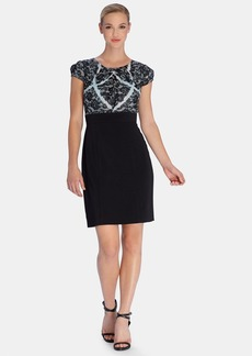 Tahari Lace Print Bodice Chiffon & Scuba Sheath Dress (Regular & Petite)