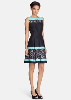 Tahari Lace Print Pleated Fit & Flare Dress