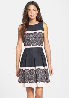 Tahari Lace Print Pleated Fit & Flare Dress